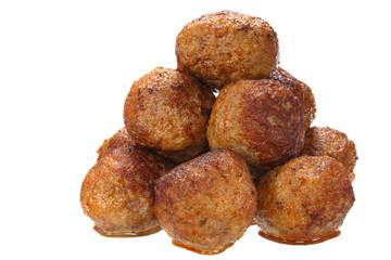 Fried pork meatballs on white background