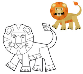 Cartoon wild animal - coloring page with preview for children