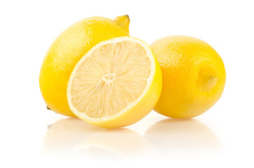 Lemons with Half Isolated on White Background