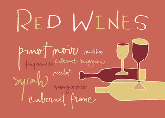 Hand-written words listing different red wines varieties