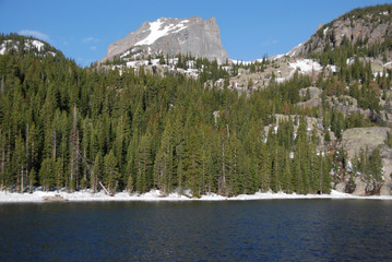 Wall Mural - Bear lake and Hallett Peak, Rocky Mountain National Park, CO
