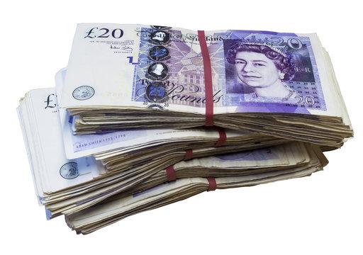 Bunch of used UK 20 twenty pound notes