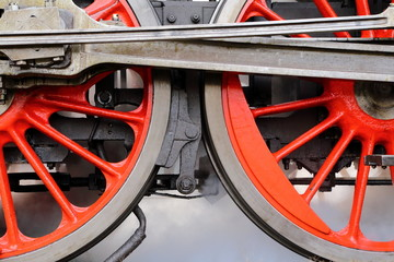 Red train wheels