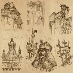 ROMANIA (set no.1) - drawings into vector set
