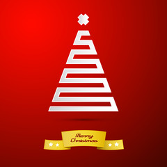 abstract paper christmas tree on red background