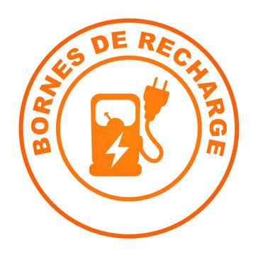 bornes de recharge sur bouton web rond orange