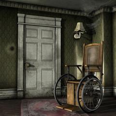Fototapeta Stary wózek inwalidzki w opuszczonym pokoju obraz