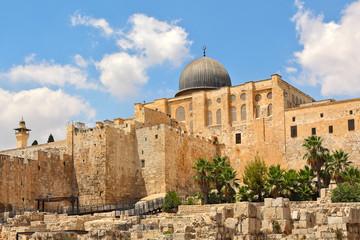Al-Aqsa dome and old ruins in Jerusalem, Israel.