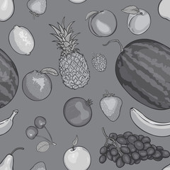 vector seamless black and white pattern of fruits