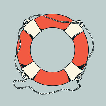 Detailed outlines, colored nautical life buoy