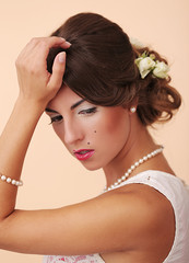 Cute and young girl prepare for wedding
