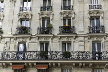 Typical Paris building facade