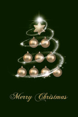 Beauty Christmas Card in Gold and Green