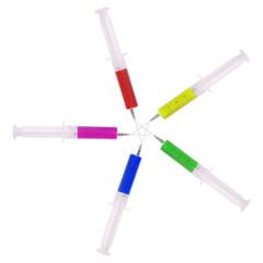 Syringe with medicine multicolored