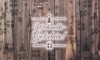 wooden German voucher symbol with presents