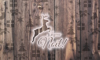 wooden French merry Christmas label with presents