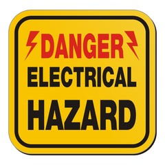 danger electrical hazard - yellow sign