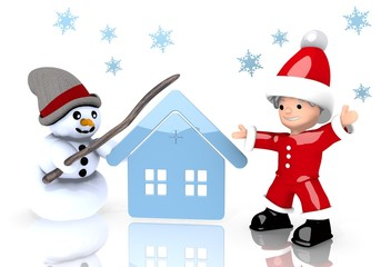 house sign presented by snowman and Santa claus