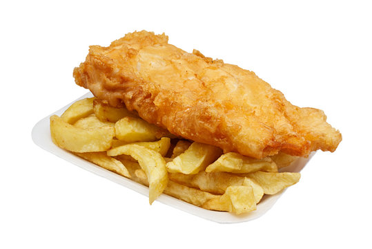 fish and chips in tray