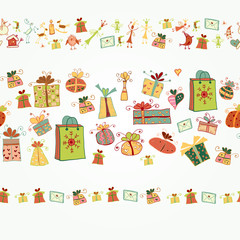 Christmas border with gift boxes and icon