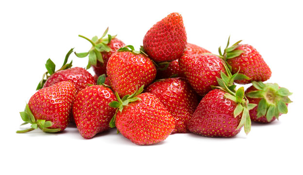 Close up of heap of strawberry, isolated