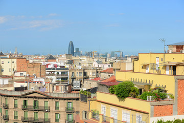 Barcelona skyline and Torre Agbar, Barcelona, Spian