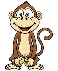 Vector illustration of cartoon monkey with banana