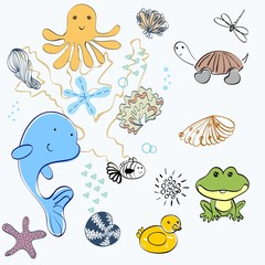 set of marine animals and shells .