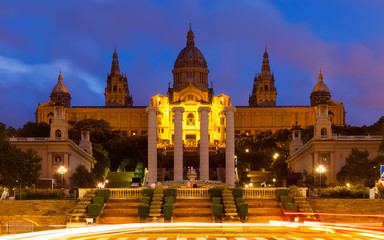 National Palace of Montjuic in summer evening