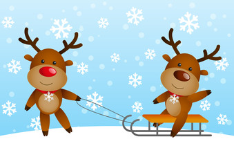 Funny deers with sled