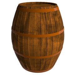 Wooden barrel, 3D