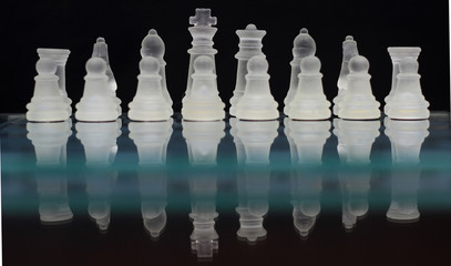 The Chess Army/An artistic shot of chess pieces.