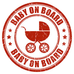 Baby on board stamp