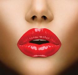 Sexy Lips. Beautiful Make-up Closeup. Kiss