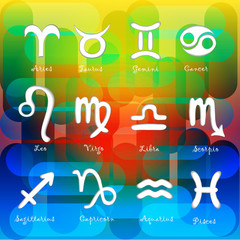 Set of astrological zodiac symbols.