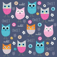 cute and funny owl pattern with buttons vector illustration