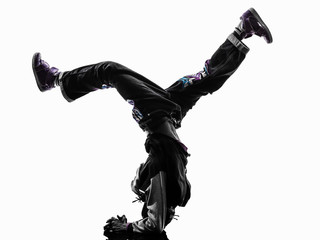 hip hop acrobatic break dancer breakdancing young man handstand