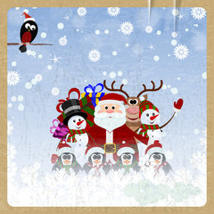 Greeting Christmas card with Santa Claus, reindeer, snowman, pen