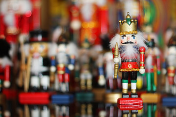 Christmas Nutcracker in front of Collection of Toy Soldiers