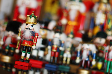 Christmas Nutcracker King in Front of Toy Soldiers