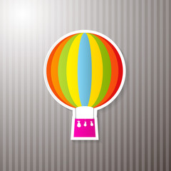 Paper Colorful Hot Air Balloon on Cardboard Background