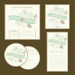 Set of vintage floral wedding invitation cards