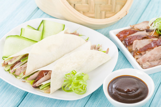 Peking Duck Wraps - Chinese roast duck wrapped in pancakes.