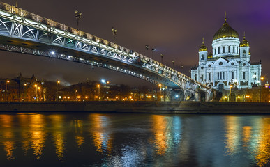 Temple Bridge and Cathedral of Christ the Savior in Moscow