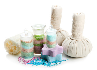 Aromatic salts in glass bottles and herbal compress balls for