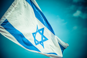 A flag of Israel in the wind