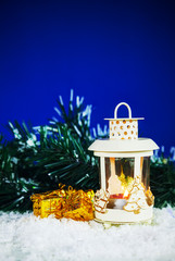 Christmas lantern with the presents