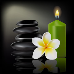 Set of spa with flower frangipani, burning candle and stones