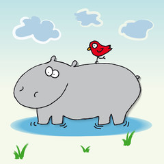 Hippopotamus hippo vector cartoon red bird safari africa