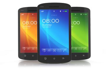 Group of modern touchscreen smartphones.